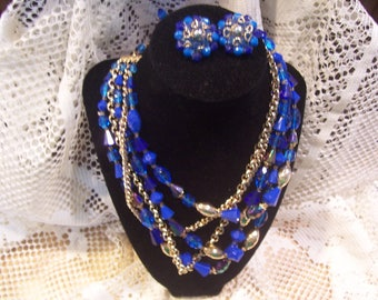 Five Strand Blue Beaded Necklace and Earring Set Made in Germany