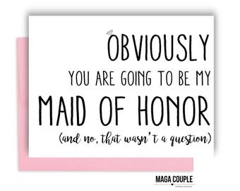 Will You Be My Bridesmaid?, Obviously, Bridesmaid Proposal Card, Bridesmaid Cards, Bridesmaid Gifts