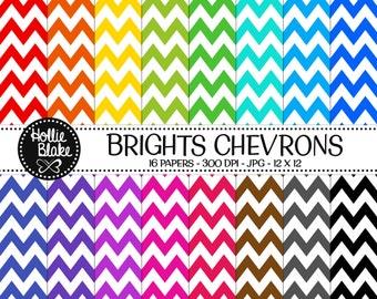 50% off SALE!! 16 Bright Chevron Digital Paper • Rainbow Digital Paper • Commercial Use • Instant Download • #CHEVRON-107-B
