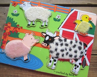 Fuzzy Farm Animal Puzzle Vintage Board Puzzle Furry Sheep Pig Chick and Horse