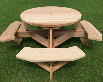 "45"" Round Top Picnic Table Western Red Cedar"