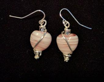 Pink heart wrapped earrings