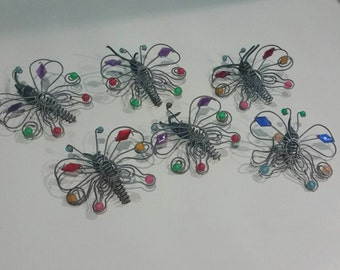 Decorative bejeweled wire butterflies