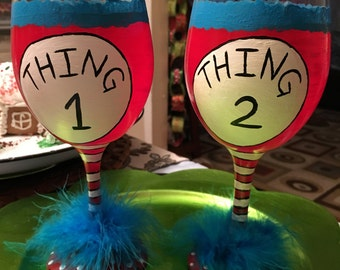Thing one Thing Two painted wine glasses