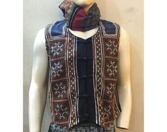 Vintage Handmade Tribal Hmong embroidered cotton hemp vest