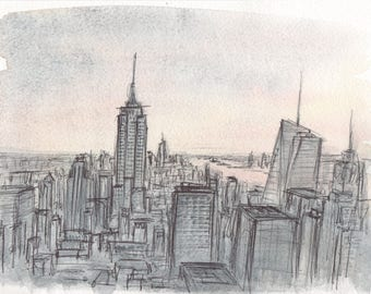 New York #2, biro on watercolour, sketch, manhattan, skyline, America, Original Artwork