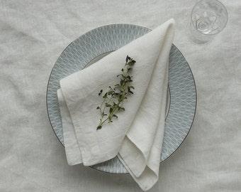 White Napkins Set, White Linen Napkins,Linen Napkins,Pure Linen Napkin, Softened Linen napkins, Table Linen, Washed Linen, Mitered Corners
