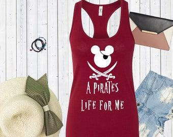 A Pirates Life For Me Mickey Head with Eye Patch Tank. Disneyworld Tank. Family Disney Shirts. Cute Disney Tanks. Mickey Shirt [E0303]
