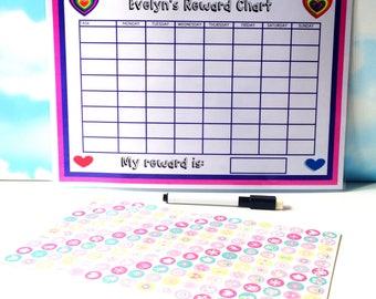 Girls Reward Chart, Stickers, Personalised, Reusable, Dry wipe pen, Chore chart, Chore list, Kids job chart, Good behavior