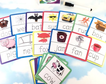 Tracing 3 letter words flash cards, Nursery, Early years, Learning cards, EYFS, Children's development, Pre-school, Education cards