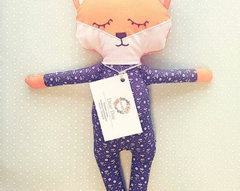 Fox plushie baby gift floral