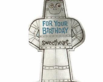 Vintage Robot Card, Robot Birthday Card, Retro Robot, Unused Birthday Card, Space Age Card, MCM Birthday Card, Kitsch Birthday