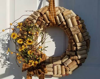 Sunflower Wine Cork Wreath