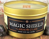 MAGIC SHIELD Candle | Book-Fantasy-RPG-Geek Gift | Gold Tin, Wood Wick, Soy Wax, Artisan | Epic Adventure Candle Co.