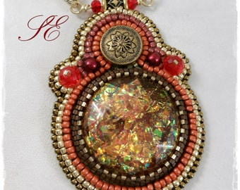 Pendant with the colors of fire, OOAK handmade