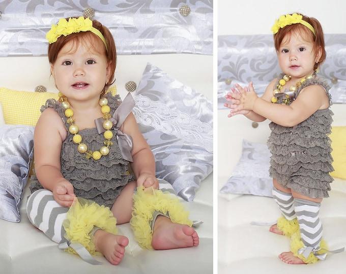 SALE! Baby Girls 4 pcs set, gray romper, petti romper, photo prop, birthday romper, petti romper, cake smash, baby headband, chunky necklace