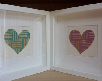 Hand Printed Heart Box Frames