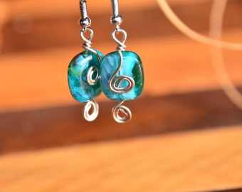 Blue and Silver Wire Spiral Earrings
