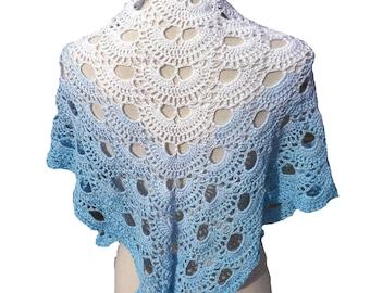 Crochet triangle shawl, crochet cloth, scarf, shawl, scarf, white gradient, light blue,