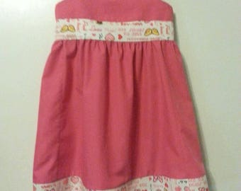 Dark Pink Empire waist Sundress w/decorative Minnie Mouse print.