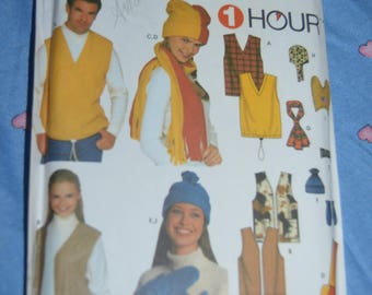Simplicity 9500 Misses Mens and Teens Vests Accessoris and Hats in Three Sizes Sewing Pattern UNCUT -  Size S M L