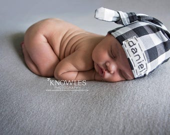 newborn boy coming home outfit, personalized baby hat,newborn name hat,baby plaid hat, buffalo plaid hat, embroidered baby hat,baby name hat