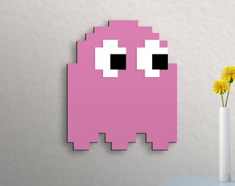 Retro Pac-man Wall Art Pink Ghost Pinky