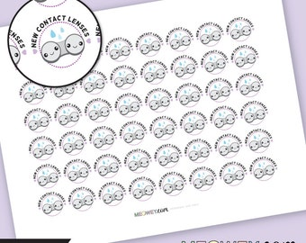 New Contact Lenses Kawaii Beauty Stickers Planner Printables INSTANT DOWNLOAD Lense Cute DIY Check Up New Eye Appointment Reminder Deco