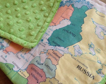 EUROPE map blanket - baby minky security blankie - small travel blanky, lovie, lovey, woobie - 15 by 20 inches