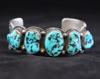 Old Pawn Sterling Silver Navajo Turquoise Bracelet hallmark PJ