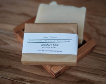 Unscented Coconut Milk Cocoa Butter Handmade Soap All Natural Vegan Soap Traditional 100g