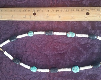 China Clam Turquoise And Lava Rock Necklace