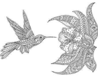 Hand-drawn humming-bird with ethnic doodle pattern for coloring.