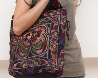 Hmong Ethnic Bag | Boho Shoulder Bag | Medium Handmade Bag