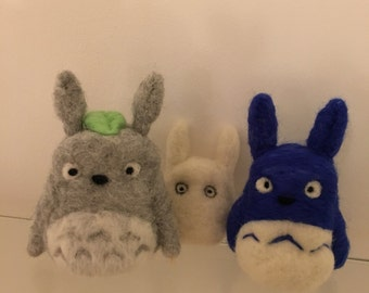 Small Blue Totoro, Needle Felt Merino Wool Totoro, Handmade Felt Totoro, Studio Ghibli