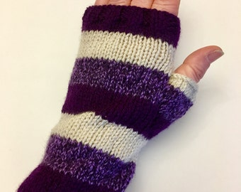 Striped purple fingerless gloves / wrist warmers
