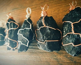 Wire Wrapped Black Tourmaline Necklace