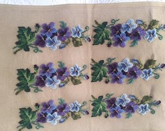 Needlepoint Preworked Violets