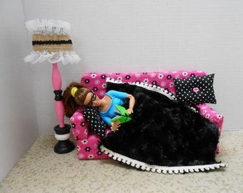 Handmade Barbie Furniture, Pink Sofa with Black and White Flowers, 2 Throw Pillows,  Black Faux Fur Blanket and Pink & Black Floor Lamp