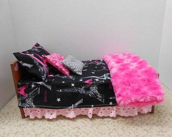 Handmade Barbie Furniture, Black and Pink Barbie Bed With Accessories Which Include Sheets, Pillow Cases and Blanket