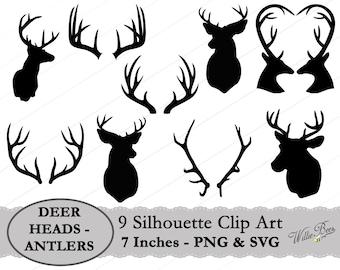 Deer Head and Antler Silhouette Clip Art - 7 inches - PNG & SVG files - Deer Images - Deer Antlers - Hunting - Animal - Instant Download
