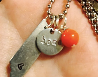 """Tennessee """"home"""" hand stamped necklace"""