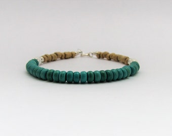 Turquoise, Shell, Glass & Sterling Silver Bracelet