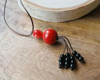 Red & Black Ceramic Bead Pendant Necklace Waxed Linen Cord Jewelry For Women/ Girls