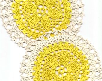 2 Crochet Lace Doily Small Crocheted Doilies Housewarming Gift Home Wedding Decor Handmade Decoration Cotton Textile Art Vintage Set Of 2