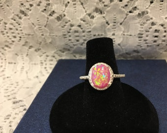 Lab Created Pink Opal Ring in Sterling Silver