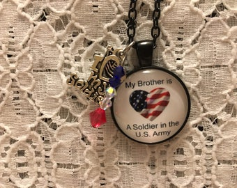 My Brother is a Soldier in the U.S. Army Charm Necklace/Brother Soldier Jewelry/Brother Army Jewelry/Brother Soldier Necklace