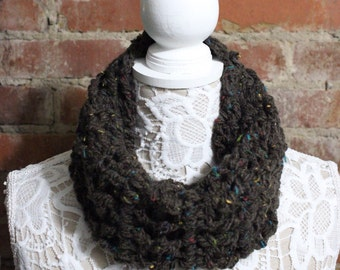 Textured Cowl Neck Scarf - Brown with Specs