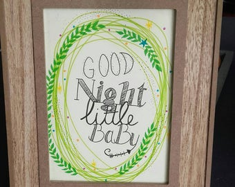 Wooden picture frame baby decoration nursery / baby frame to ask handmade hand made