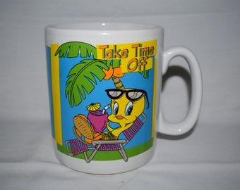 1996 Exclusive warner bros. studio Tweety bird mug. Take time off.